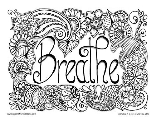 breathe adult coloring page with beautiful paisleys and flowers created by jennifer stay visit coloring pages bliss to see over 100 of jennifers designs - Inspirational Word Coloring Pages