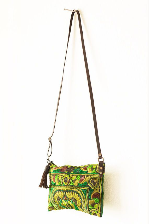 Lime Bird Hill Tribe Crossbody Hmong Bag Handmade by Changnoibags
