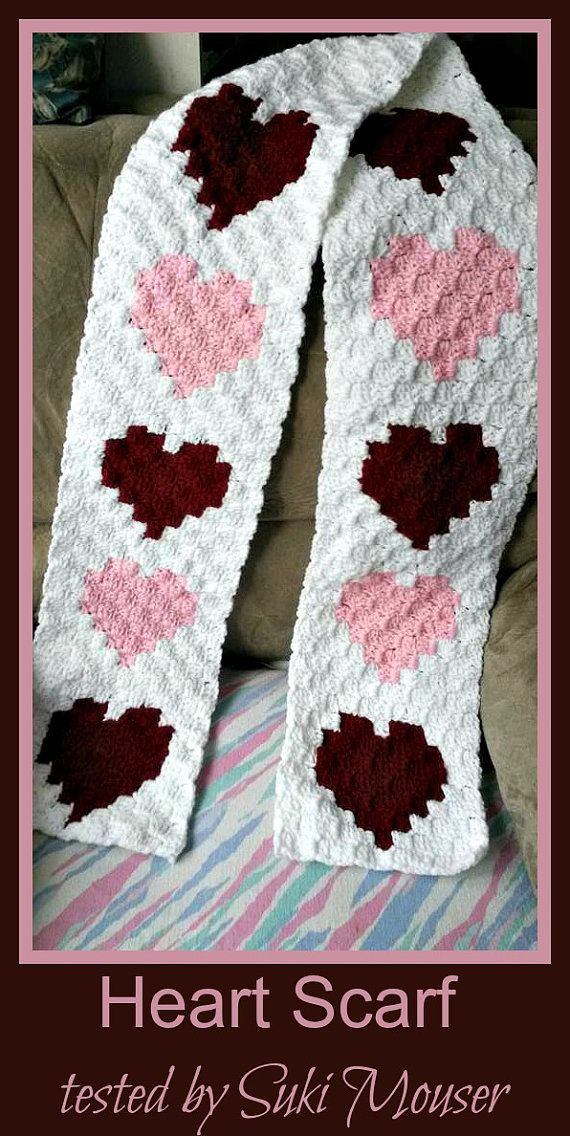 Hearts Scarf, C2C Crochet Pattern, Written Row Counts, C2C