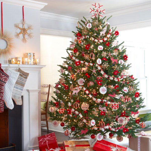 Stunning red & green decorated Christmas tree loaded with decorations | Scandinavian christmas ...