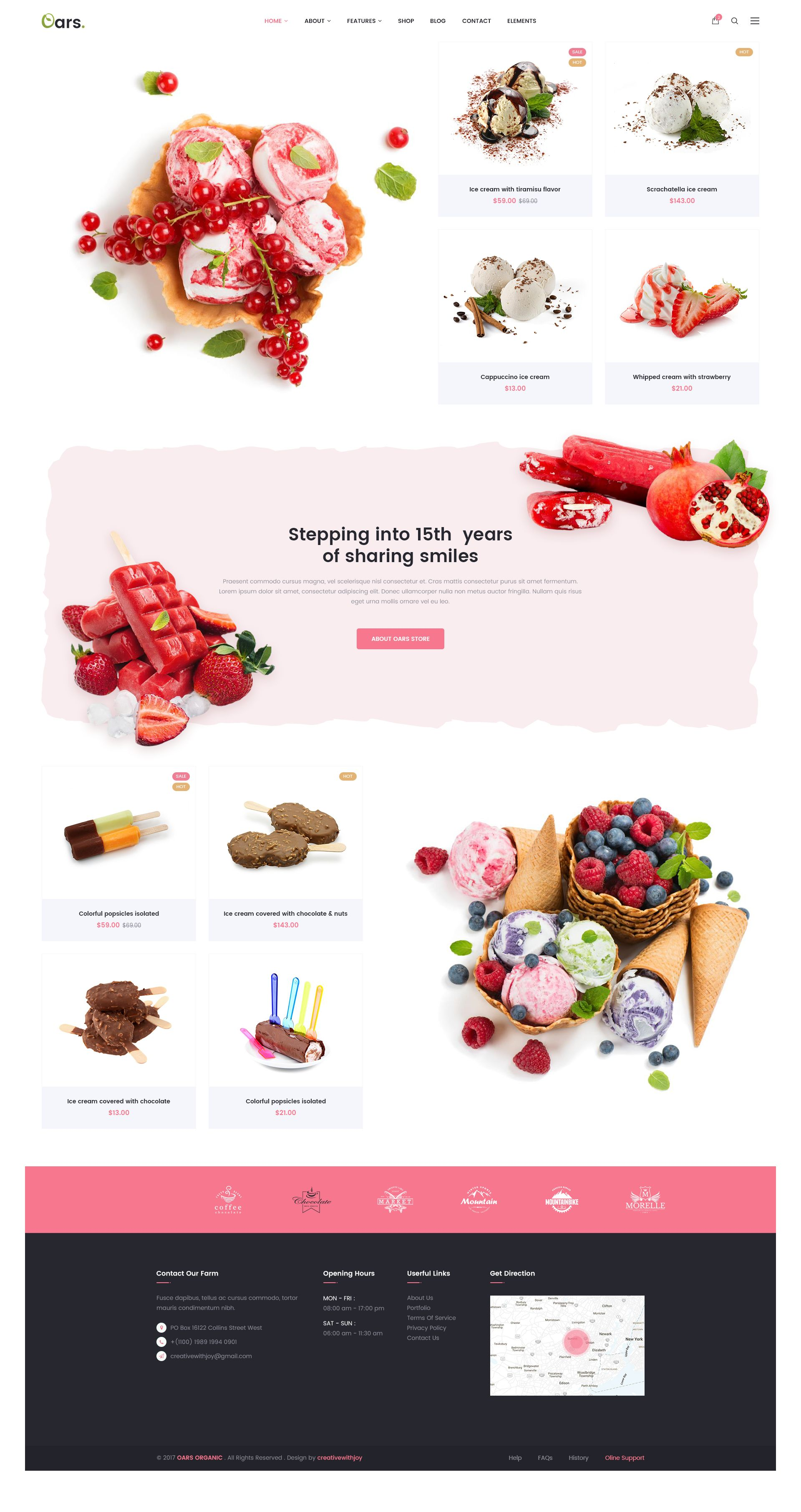 Oars Creative Organic Store Smoothie Fresh Food PSD Template