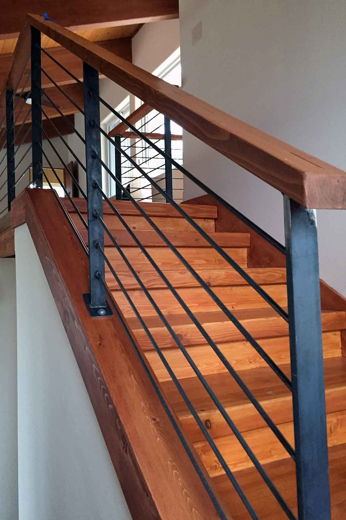 Photo Raw Steel Handrail Featuring Wood Cap Metal Stair | Wood And Metal Handrail | Interior | Iron Railing | Architectural Modern Wood Stair | Stainless Steel | Traditional