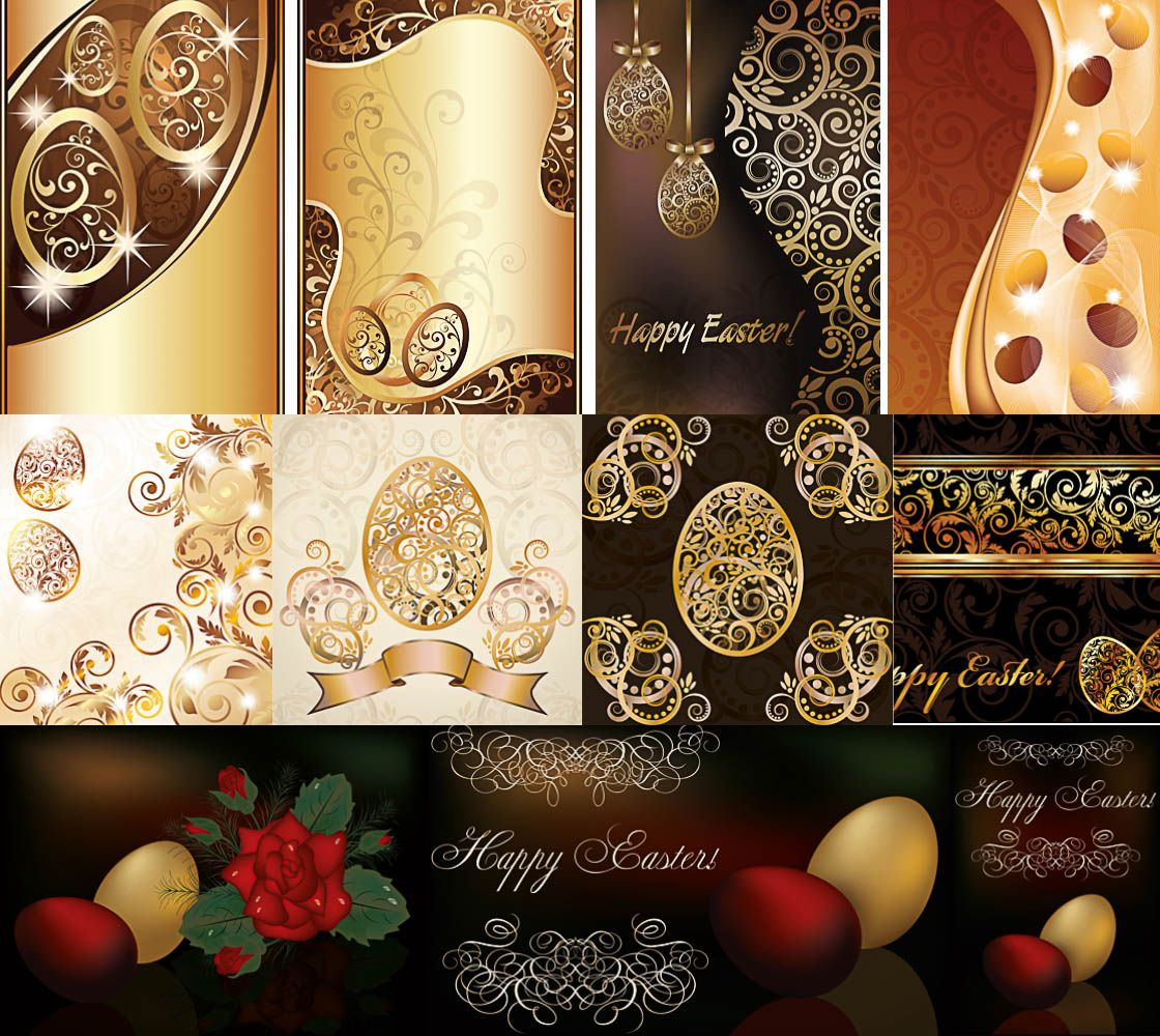 Abstract ornaments easter egg and happy easter cards