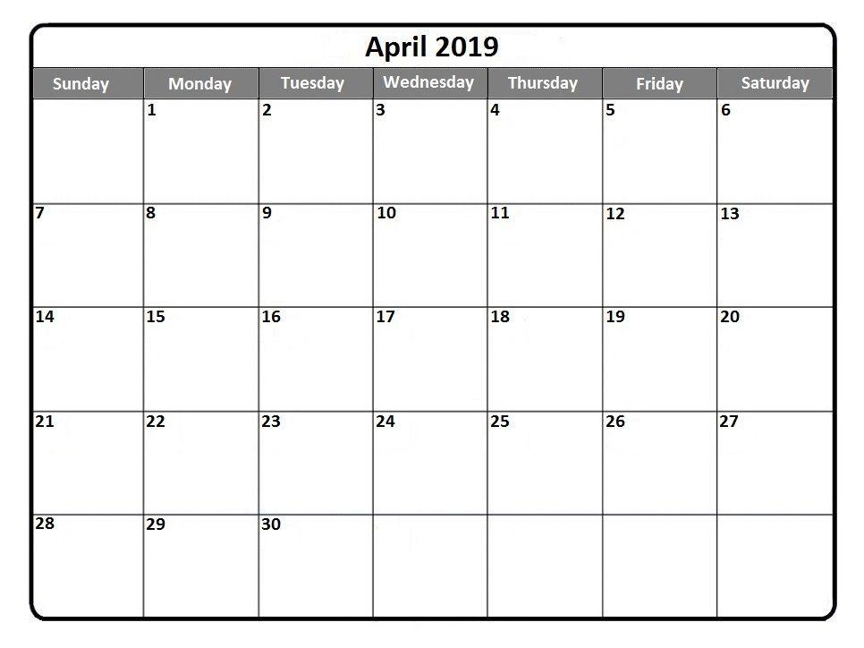 Blank Calendar April 2019 Printable 150+ April 2019 Calendar