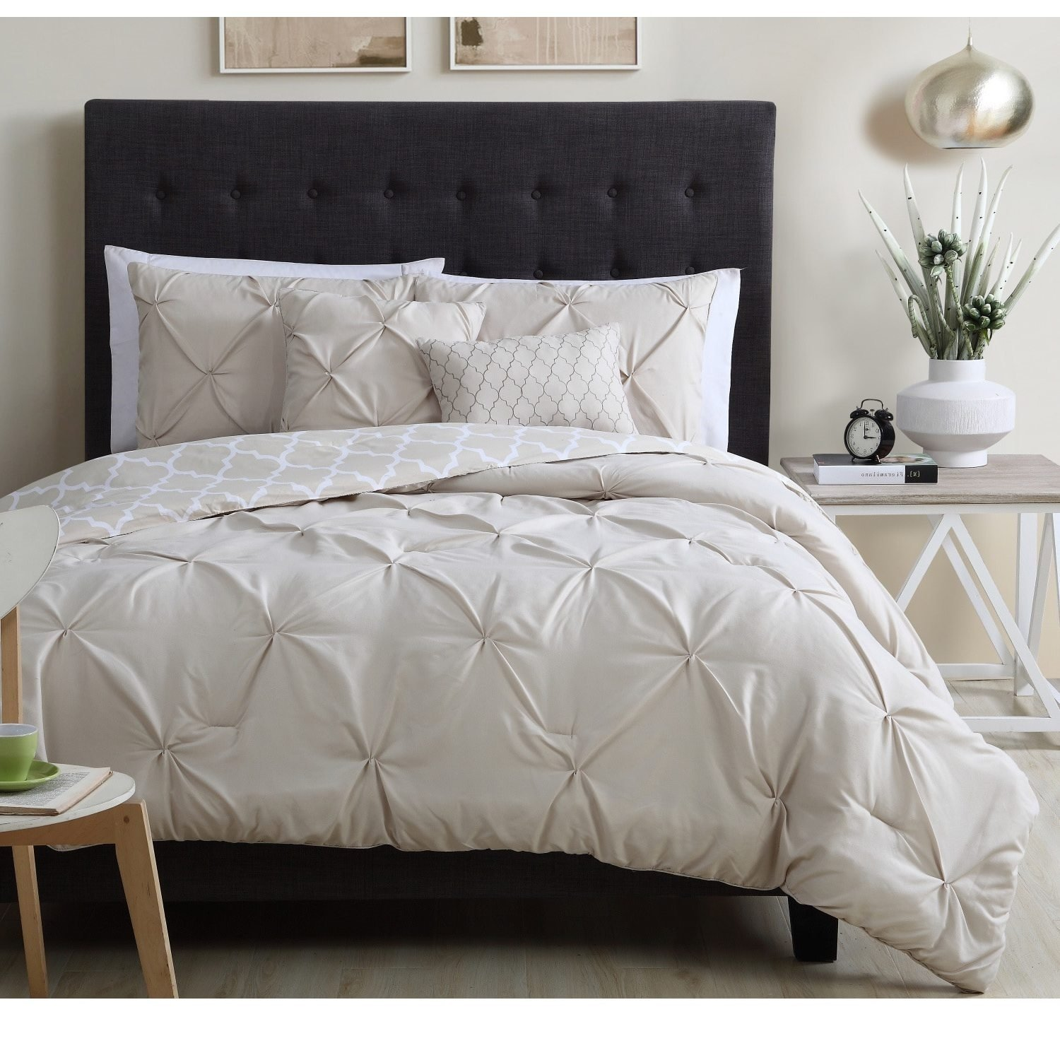 beige tufted pin themed taupe texture stylish pleat set tan queen plush pinch pinched quatrefoil pintuck comforter bedding chic pleated diamond moroccan