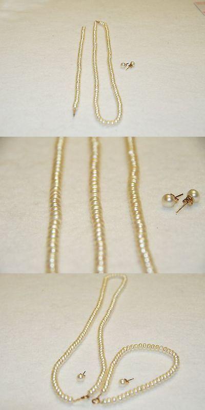 Pearl 164327: Tahitian Pearl Necklace, Bracelet, Stud Earring Set 14K Yellow -> BUY IT NOW ONLY: $349.99 on eBay!