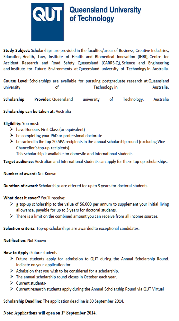 Post Graduate Scholarships In Australia 2014 15 Graduate