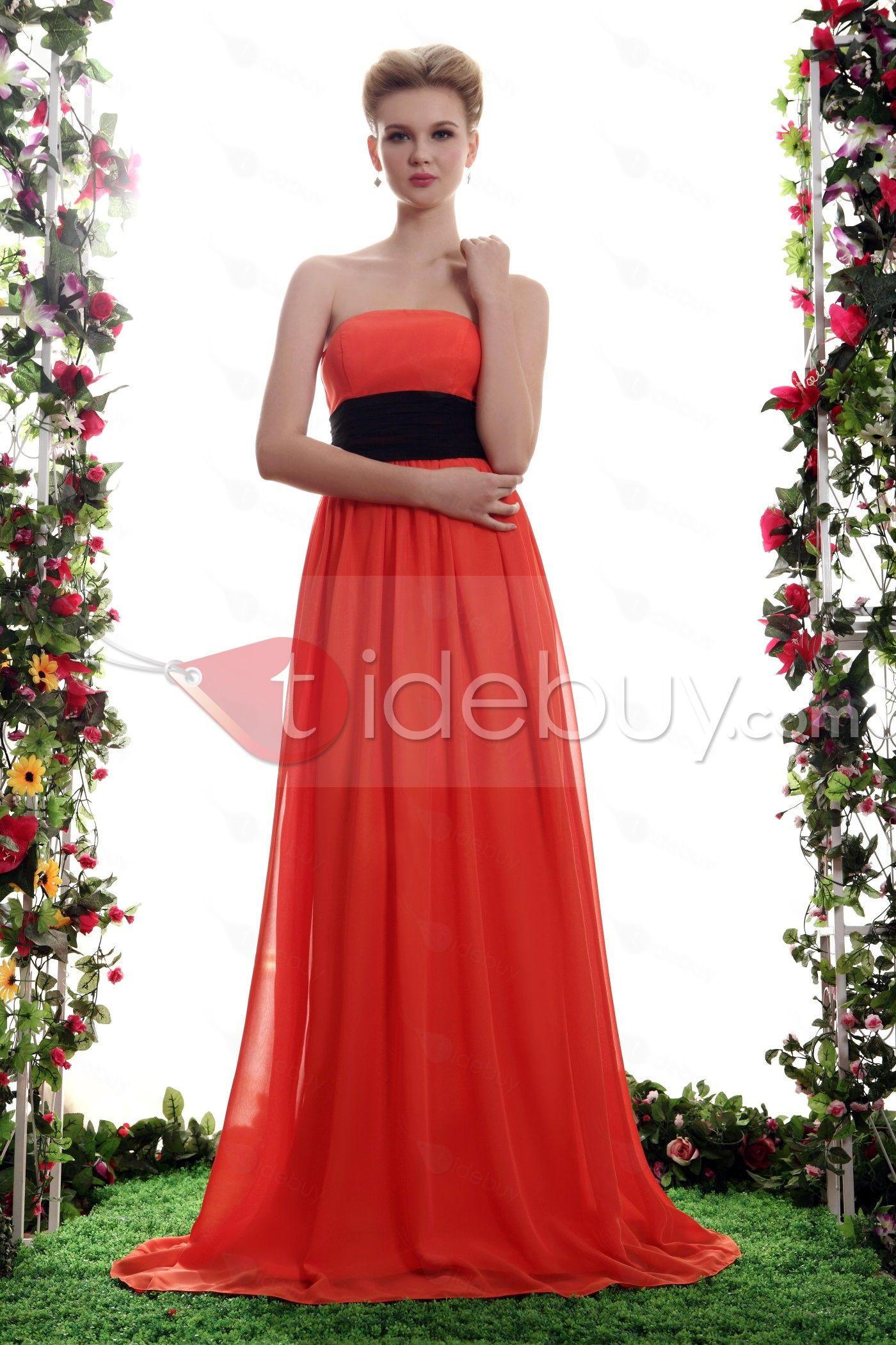 魅力的なサッシュ/リボンエンパイアウエストストラップレスネック床長ヤナウエディングドレス