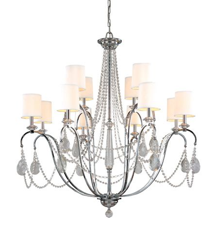 Troy Lighting's Fountainbleau Collection invokes pure brilliance, elegantly re-inventing the classic chandelier. With its graceful, polished chrome arms extending outward and delicate crystal glassware and hardback linen shades, the Fountainbleau affords a luxurious radiance to any room it graces. Talk about standing up and being made to take note!