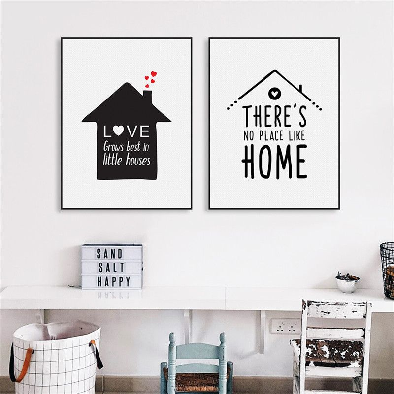 2pcs set modern nordic minimalist black white houses love quotes art canvas prints and posters