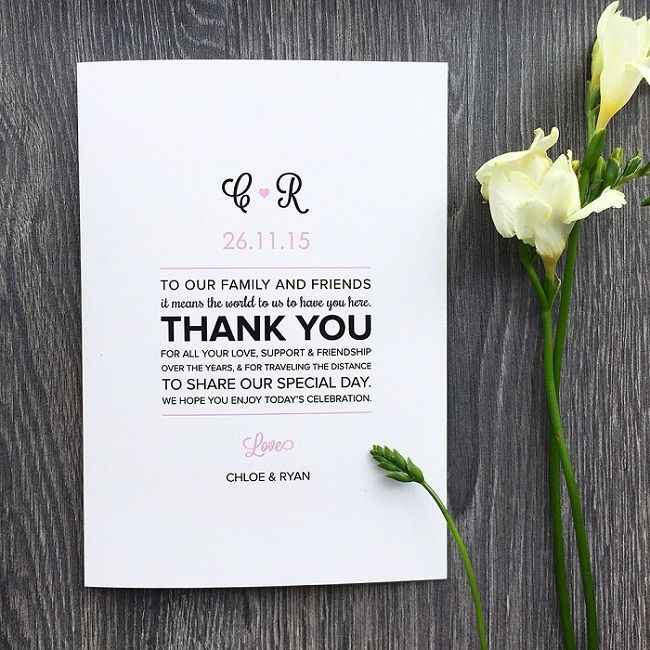 Wedding Program Messages Of Thanks