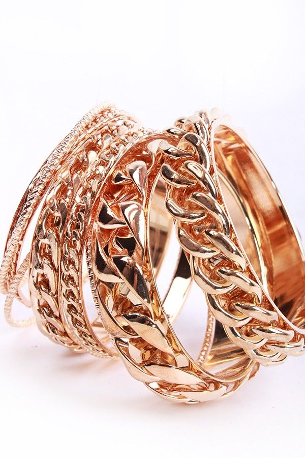 GOLD MULTIPLE CHAIN LINK BANGLE SET,PinkBasis.com Jewelry:Women's Designer Jewelry,Fine & Fashion Jewelry,Pandora,Gemstones,Pearls,Rhineston...