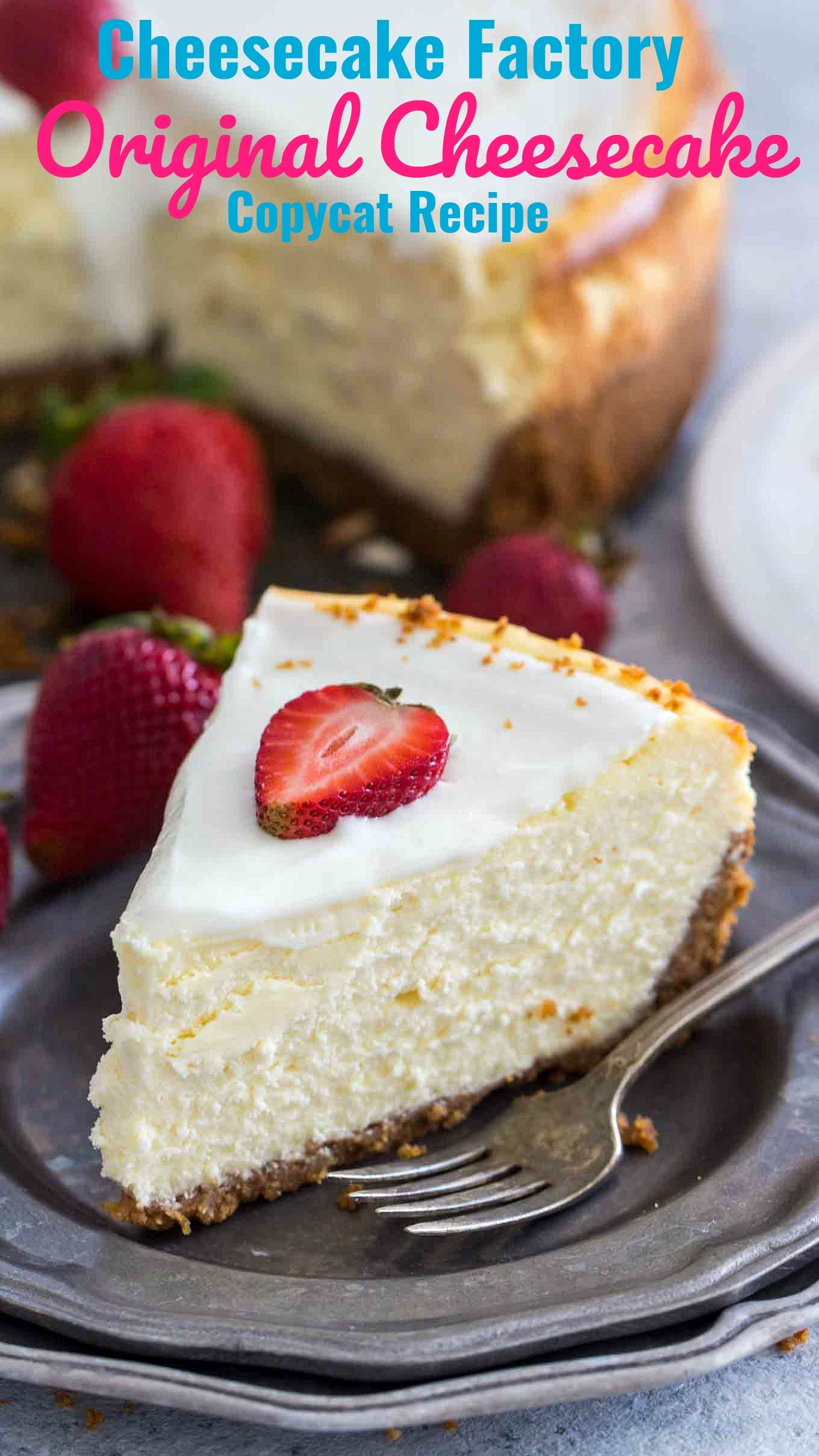 Cheesecake Factory Original Cheesecake Copycat Recipe can easily be made at home anytime you crave it. This is a luxurious and creamy cheesecake with a graham crust and sour cream topping.