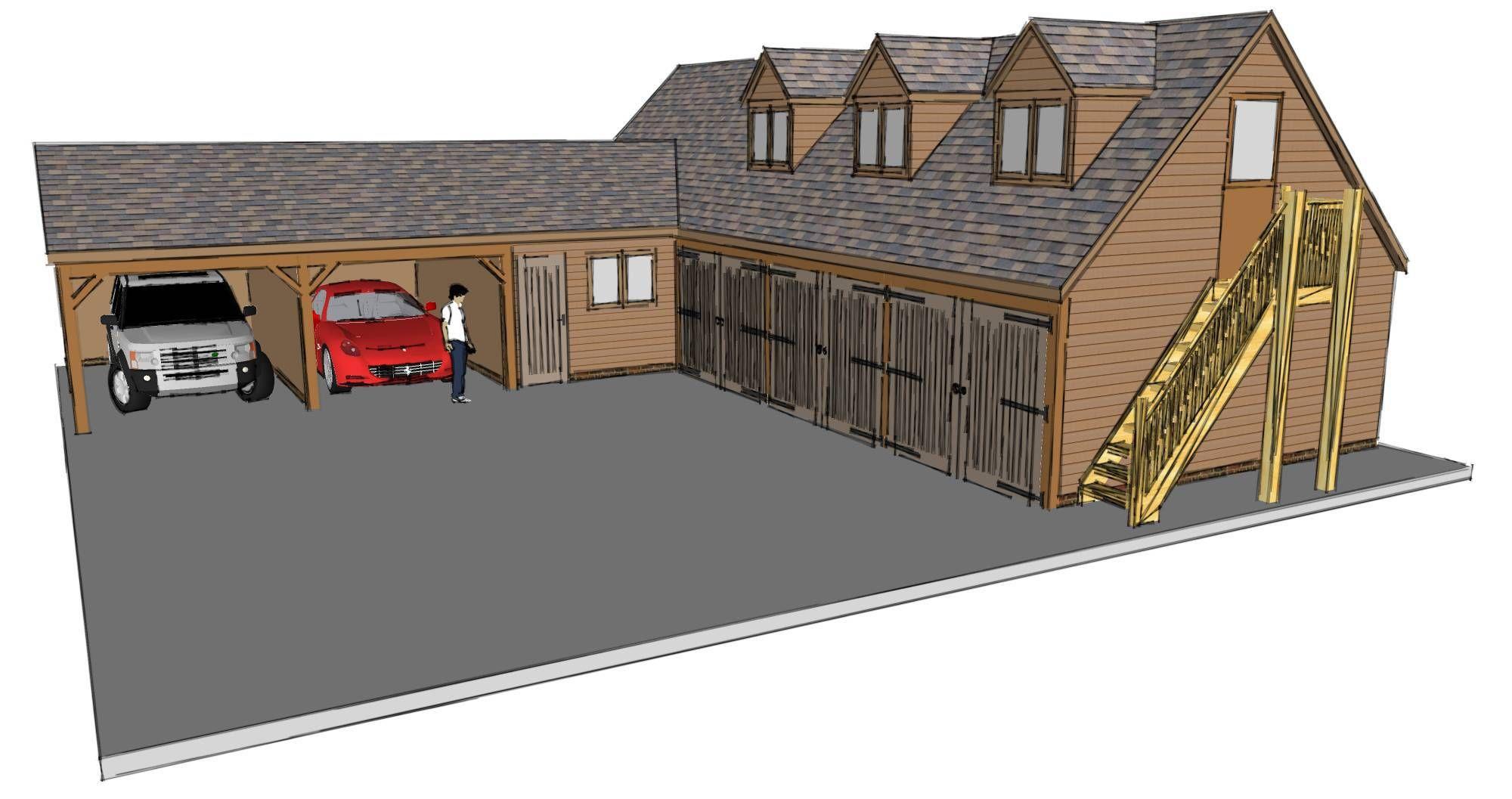 L Shaped Garage Scheme The Stable Company Garage Design Garage Plans Timber Frame Building