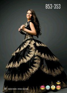 Charo style quinceanera dress black | My Fashion dresses ...