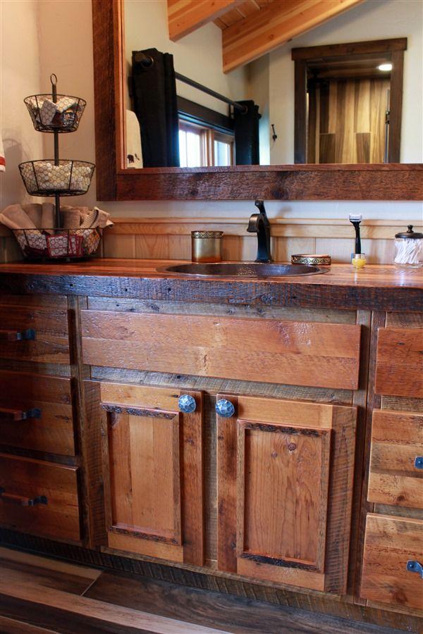 100 Year Old Rustic, Reclaimed Barnwood Bathroom Vanity And Mirror. Sink Is  Made From