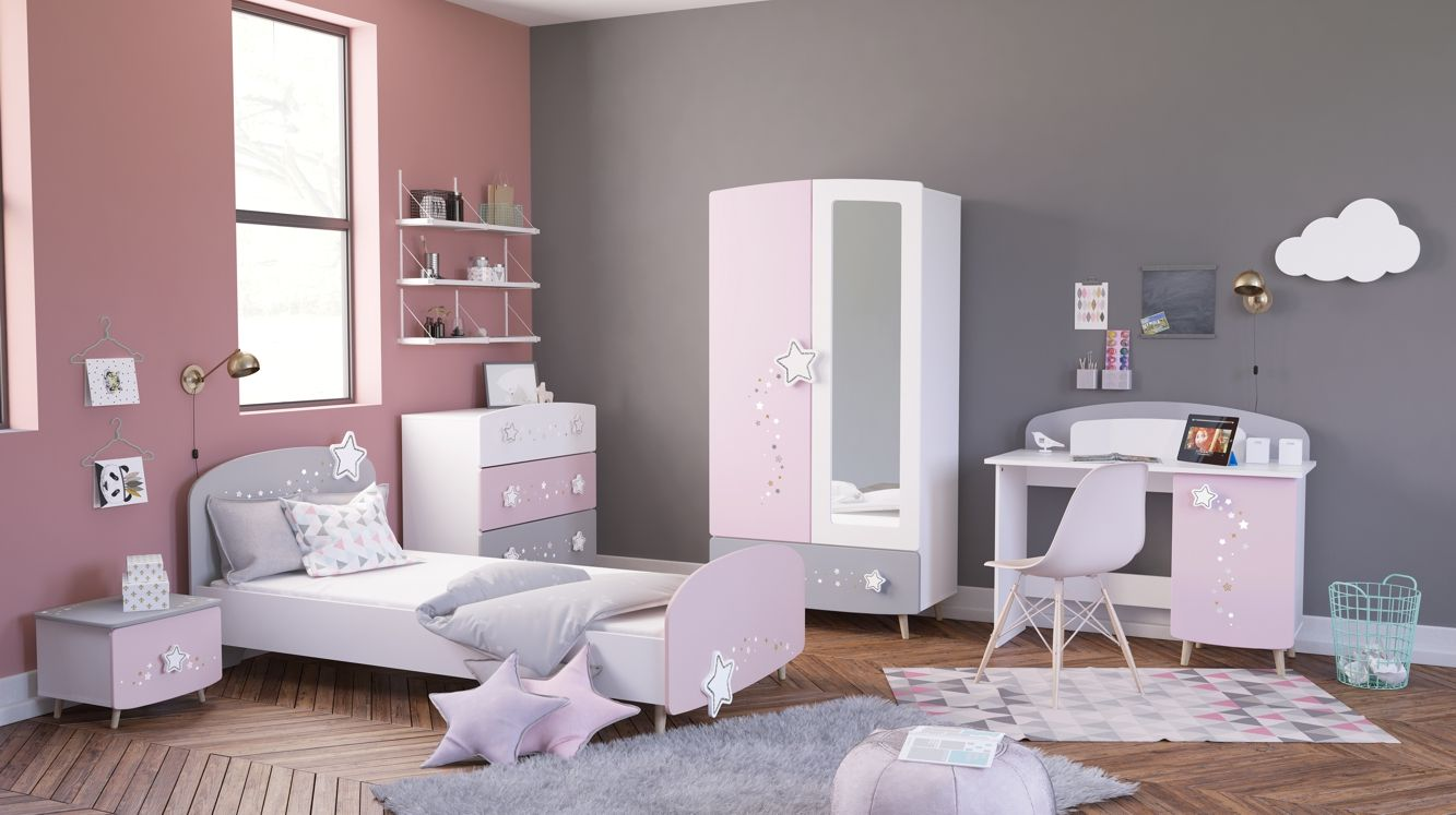 Madchenzimmer Set 5 Teilig Sterne Rosa Weiss Grau Starli In 2020 Modernes Kinderzimmer Kinderzimmereinrichtung Kinderzimmer Dekor