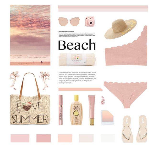 """""""pink sand beach."""" by chebear ❤ liked on Polyvore featuring Marysia Swim, Topshop, Reef, Style & Co., SONOMA Goods for Life, L'Oréal Paris, Fujifilm, ban.do, AERIN and beachday"""