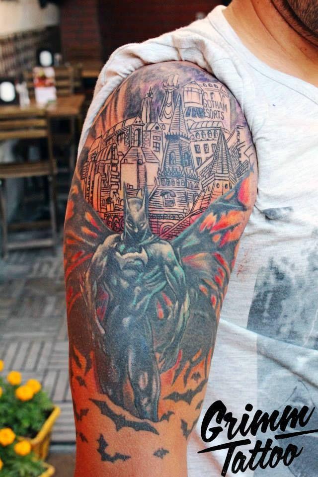 Detective Comics. Batman. Batman tattoo. Gotham city tattoo. Superpower. Heroic tattoo. Bob Kane. The Dark Knight.