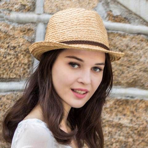 Fashion raffia straw panama hat for women summer wear