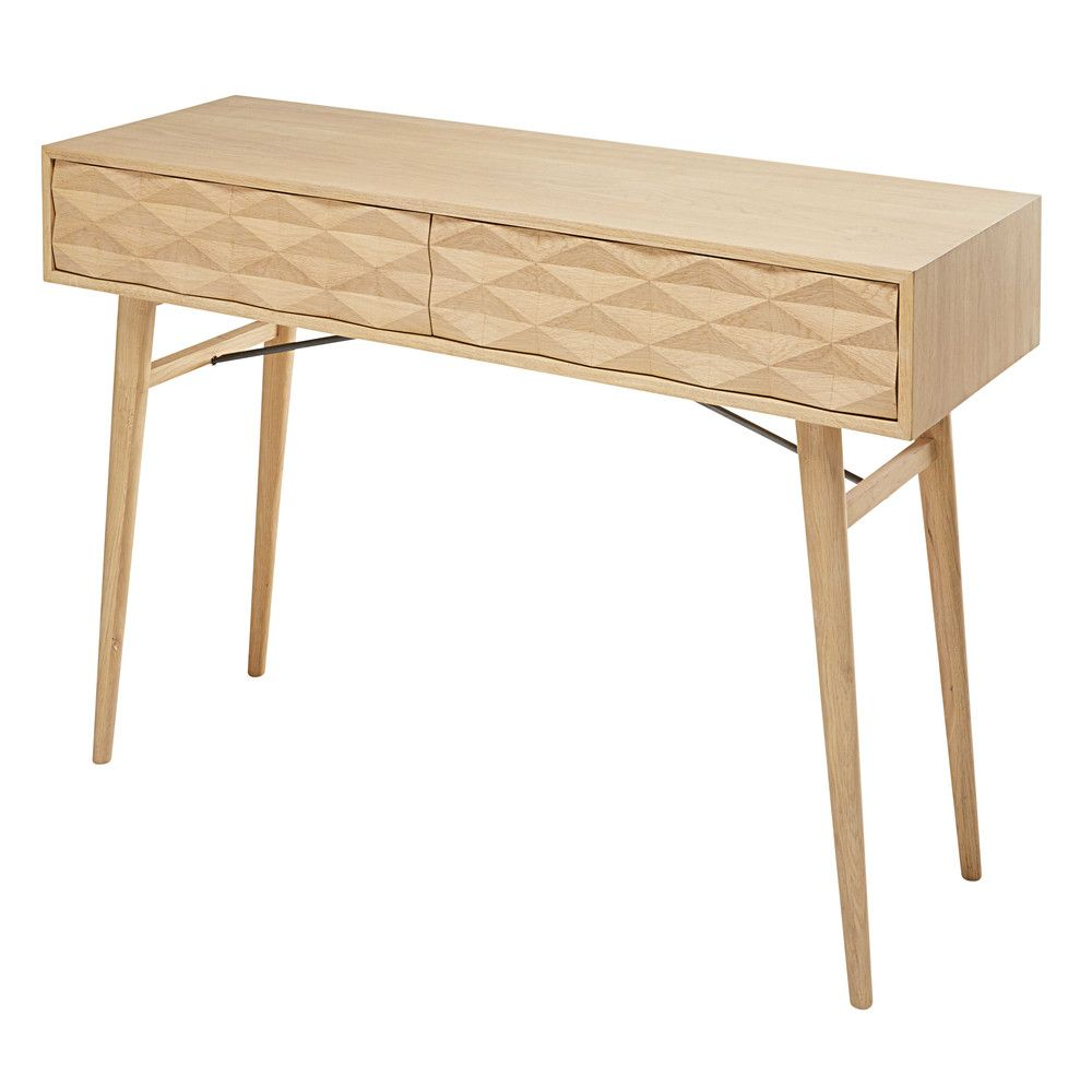 Solid oak 2-drawer console table   Solid oak, Console tables and ...
