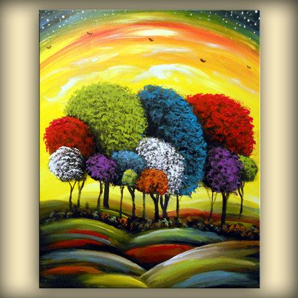 abstract original painting lollipop tree art