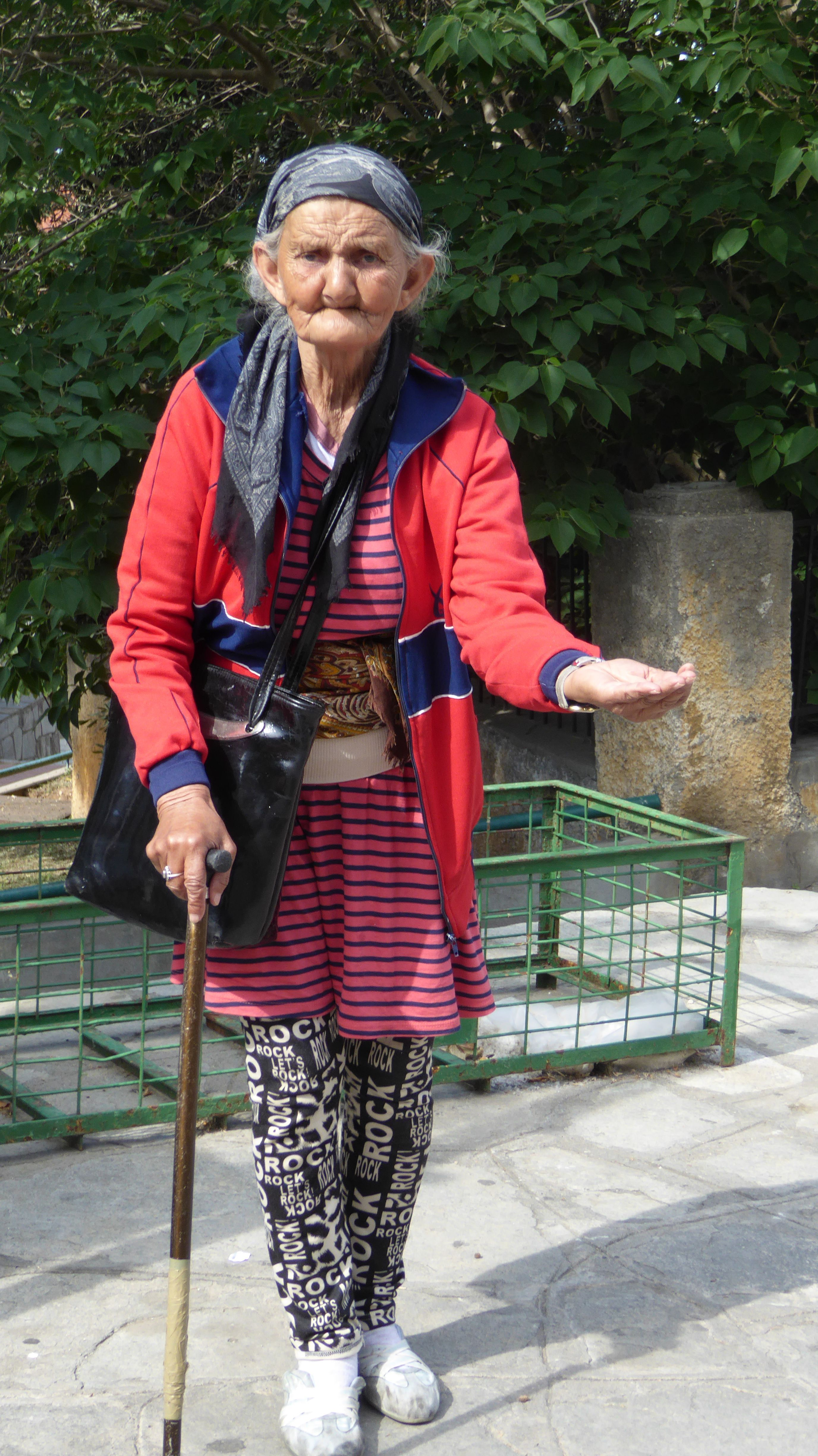 Lady Beggar At Walls Of Thessaloniki Greece Travel Patches International Travel Lady