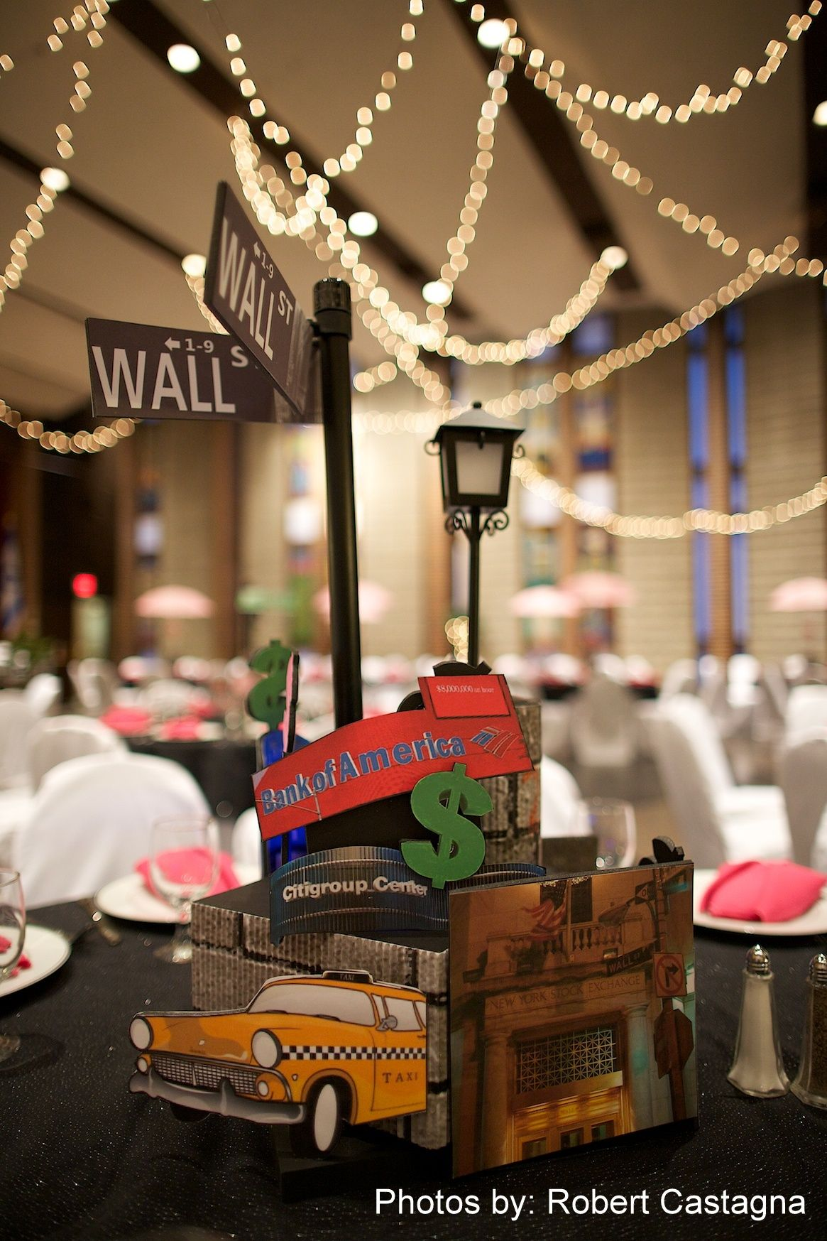 Nyc Themed Wall Street Centerpiece Bat Mitzvah Ri Ma