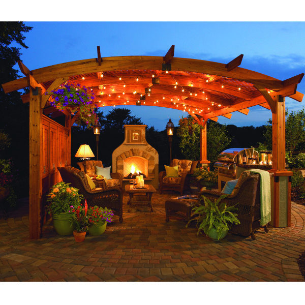 For The Dream Backyard Entire Outdoor Room Package Pergola Fireplace Grill Island Furniture Outdoor Rooms Outdoor Living Pergola