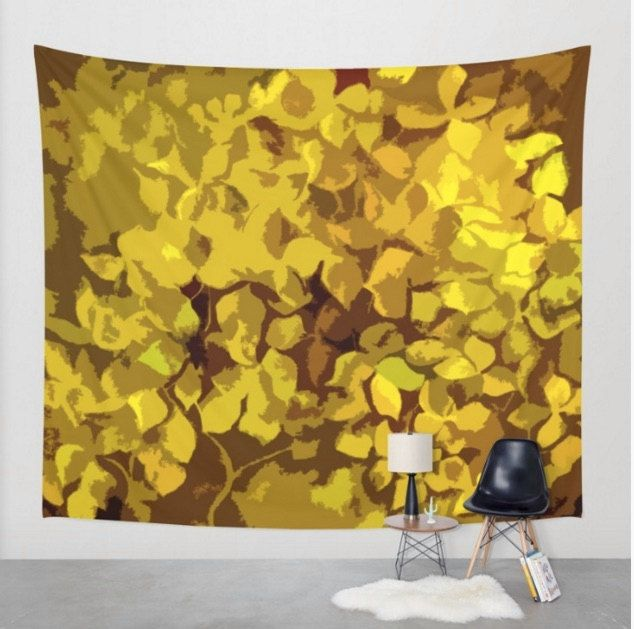 MCM wall tapestry - yellow abstract art - hydrangea wall tapestry ...