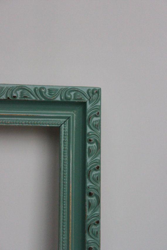 Large Distressed Jade Frame Wood Ornate   lares and penates ...