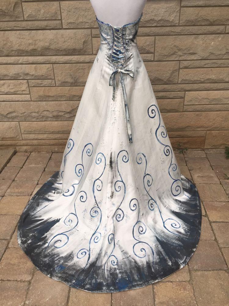 The Corpse Bride Wedding Dress Halkoween Costume Strapless Ooak Corset Back 12