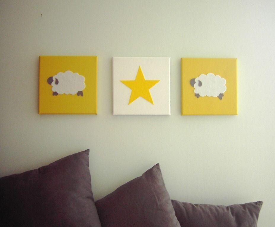 Tableau Triptyque Mouton Et étoile X Décoration Murale Pour - Decoration murale pour pinterest chambre