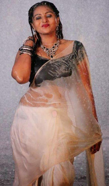 South Indian Actress Divya Prabha Hot Wet Blouse Saree Photos
