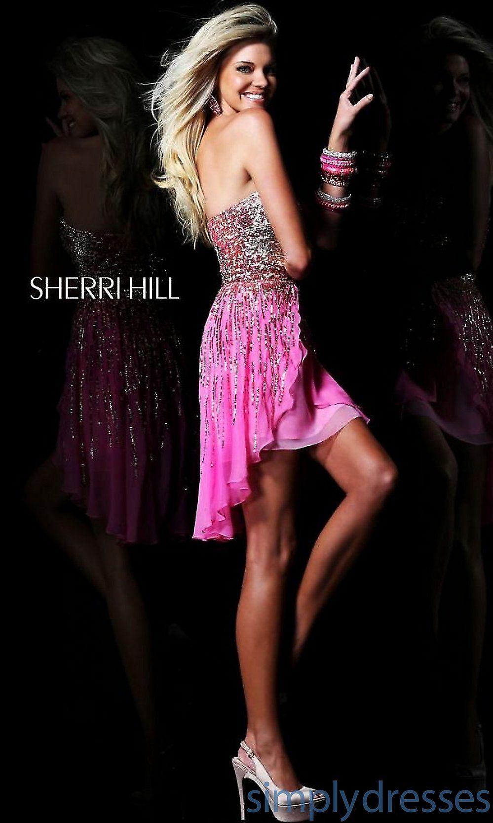 Sh short strapless sequin dress by sherri hill hemline