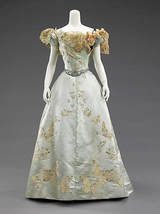 House of Worth, pale blue silk gown with butterfly embroidery, 1898