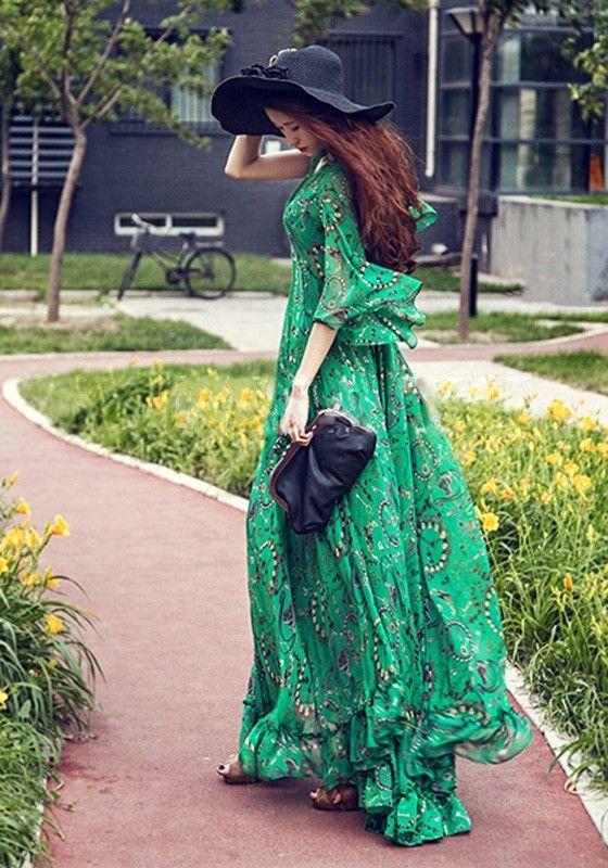 714bcca06a7 Maxi robe longue imprimé floral bohème col V manches longues mousseline de  soie plage femme casual vert