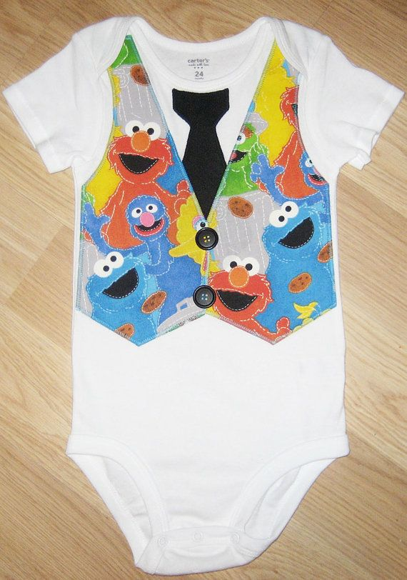 f18b30d3d901 Sesame Street toddler tee with tie and vest. Elmo
