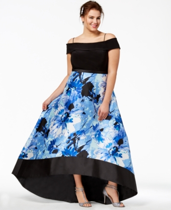 833381a113f Morgan   Company Trendy Plus Size Off-The-Shoulder Gown - Black Royal 24W
