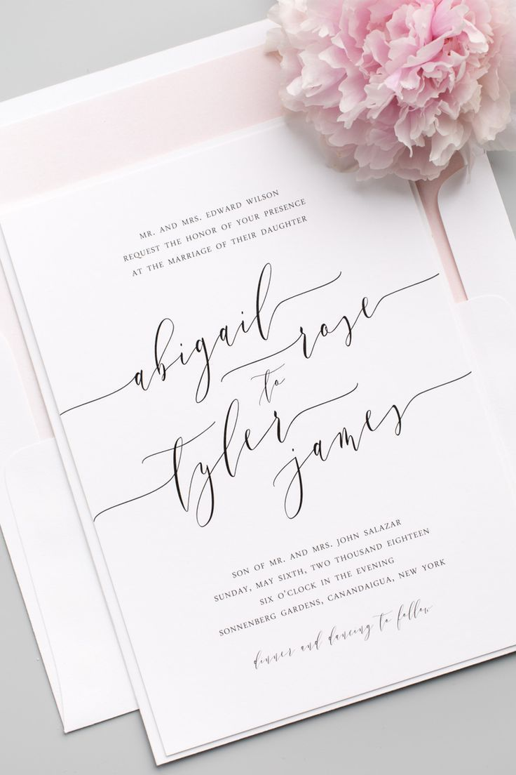 Romantic Calligraphy Wedding Invitations Belly Bands Wedding