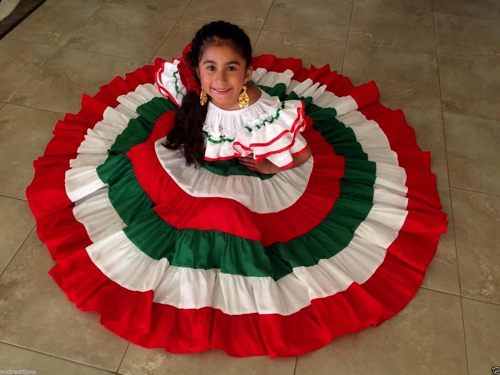 Mexican Girl Children Embroidered Dress 5 De Mayo,Mexican Fiesta.Vestido De Niña