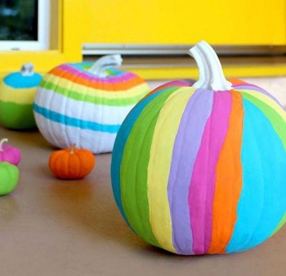 No carve painted DIY pumpkins - a painted rainbow
