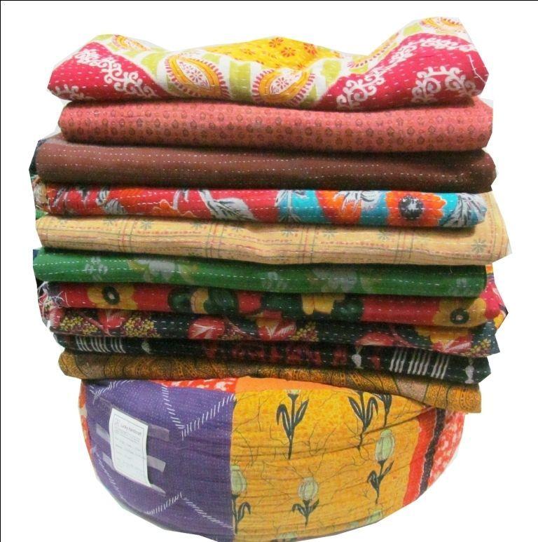 Vintage Bedspreads Reversible Kantha Quilt Wholesale Lot Ralli Gudri Blanket