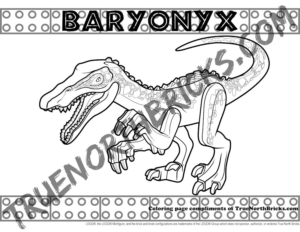 Baryonyx Coloring Page Inspired By Lego True North Bricks Dinosaur Coloring Pages Lego Coloring Pages Coloring Pages