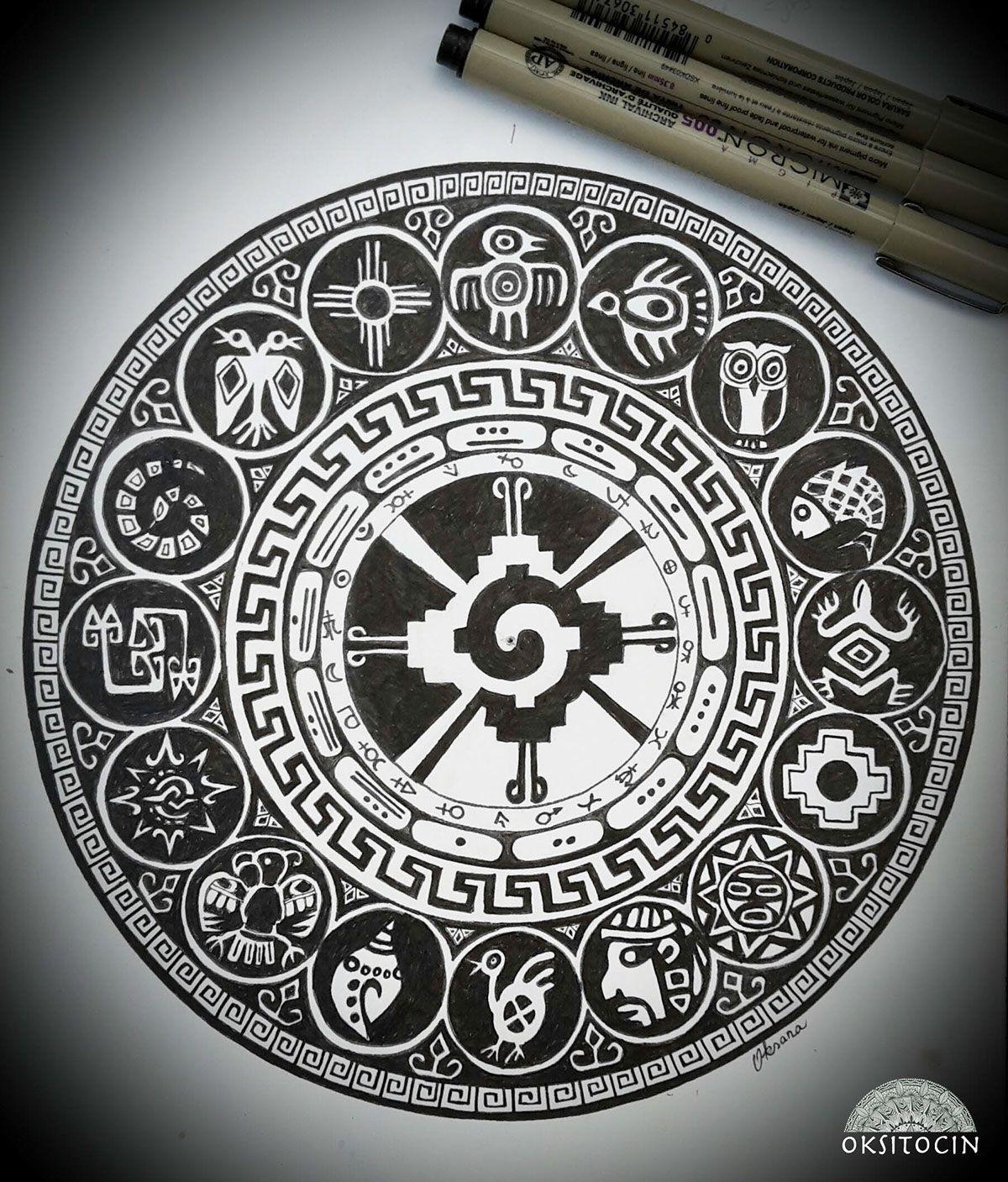 Inca Amp Maya Symbols Mandala By Oksana Stepanova On
