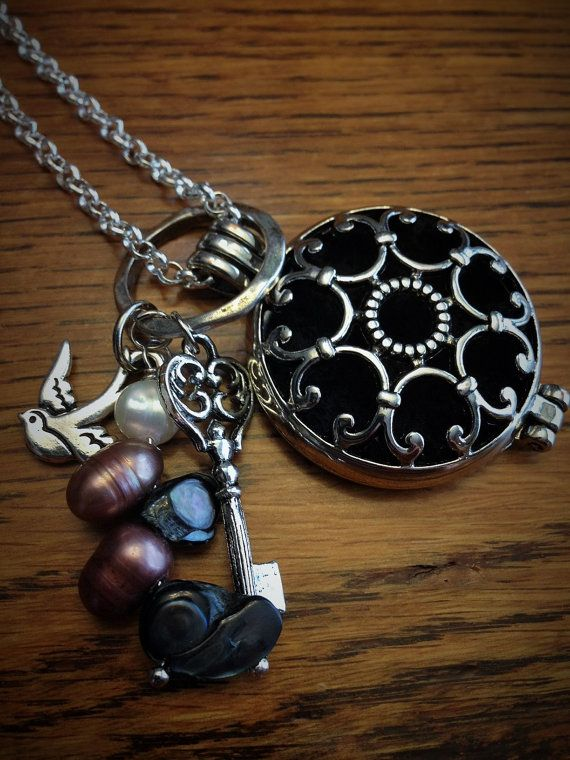 Silver Finish Bird and Pearl Aromatherapy by TheScentedSpirit