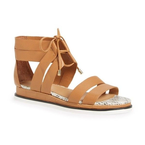 Women's Calvin Klein 'Caterina' Demi Wedge Gladiator Sandal ($119) ❤ liked on Polyvore featuring shoes, sandals, almond tan, calvin klein shoes, roman sandals, calvin klein sandals, mid heel wedge sandals and greek sandals
