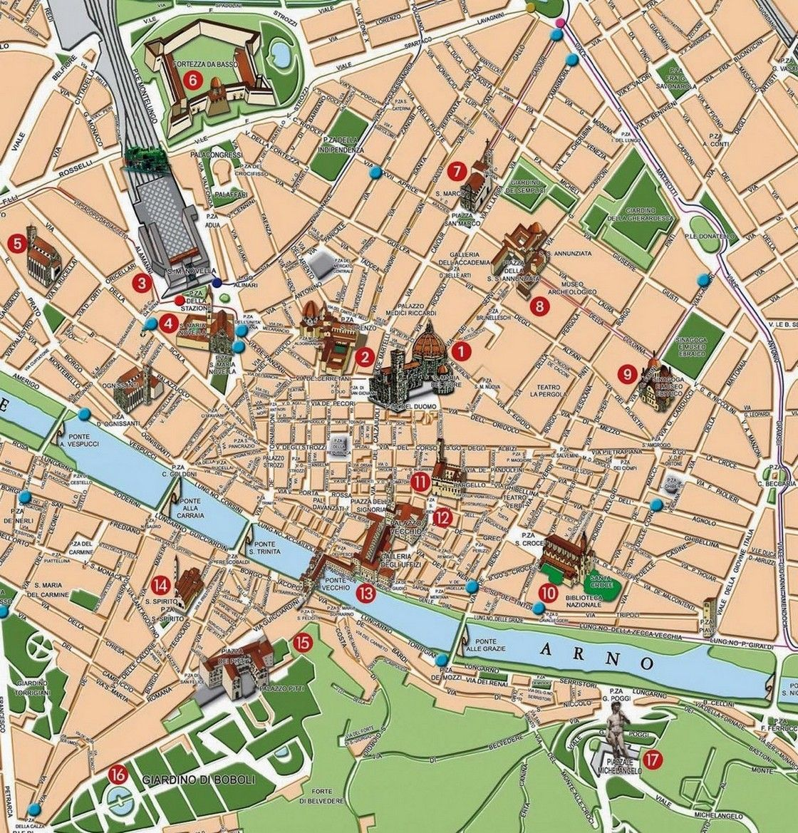 Cartina Citta Di Firenze.Cartina Turistica Di Firenze Nel 2020 Viaggiare In Italia