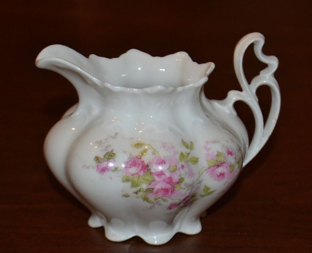 Details about Antique ROYAL AUSTRIA CREAMER - PINK ROSES