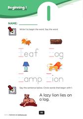 beginning consonant Ll | kindergarten level 1 phoenics sheets ...